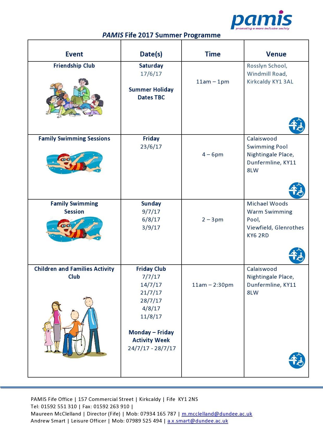 PAMIS Fife Summer activity programme