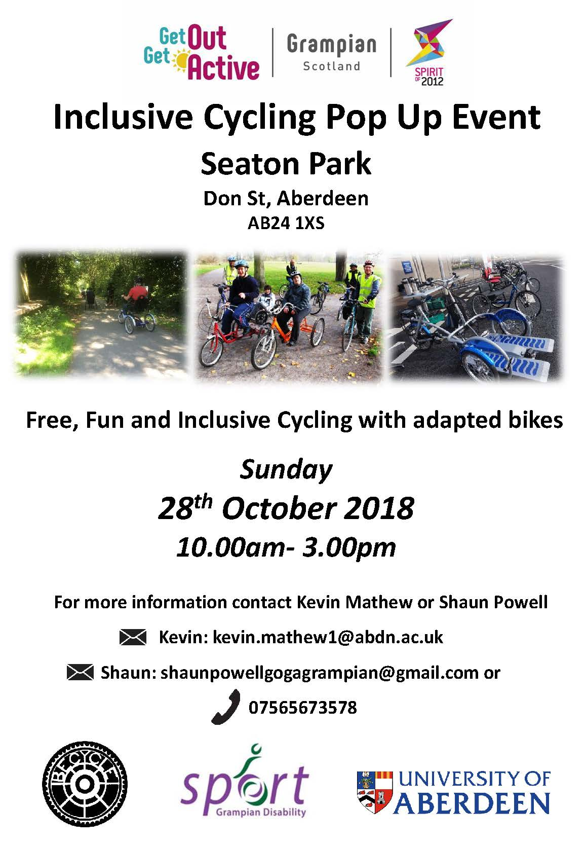 Inclusive Cycling Pop Up event – Aberdeen